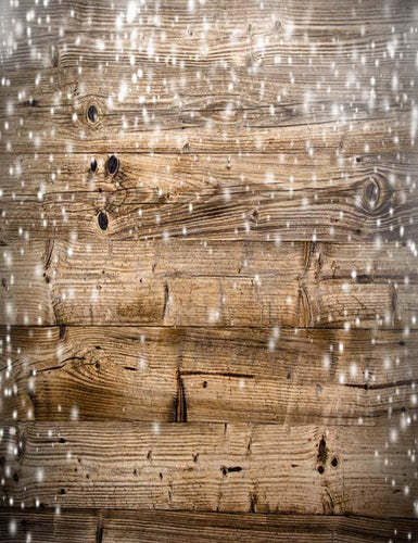 Wood Wall With Snow Sparkle Photography Backdrop N-0005