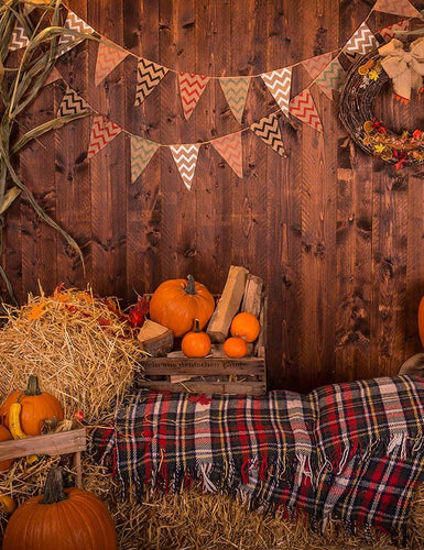 Wooden Wall With Pumpkins Haystack For Halloween Photography BackdropJ-0730