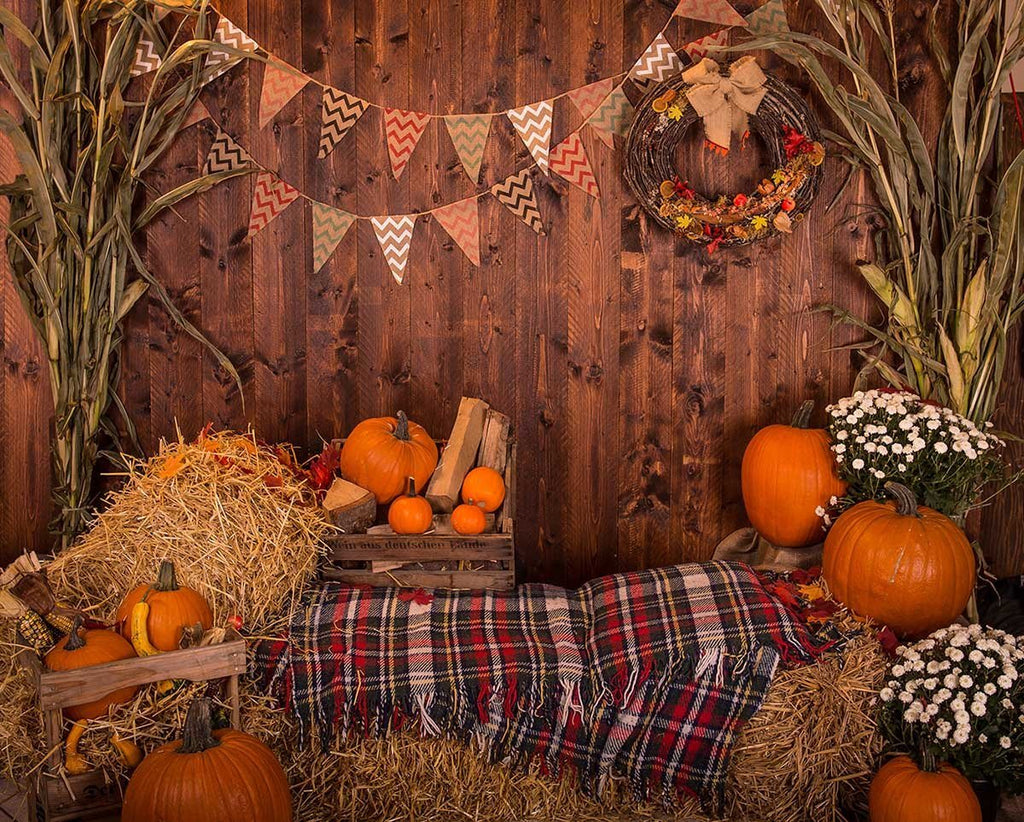 Wooden Wall With Pumpkins Haystack For Halloween Photography Backdrop J-0730