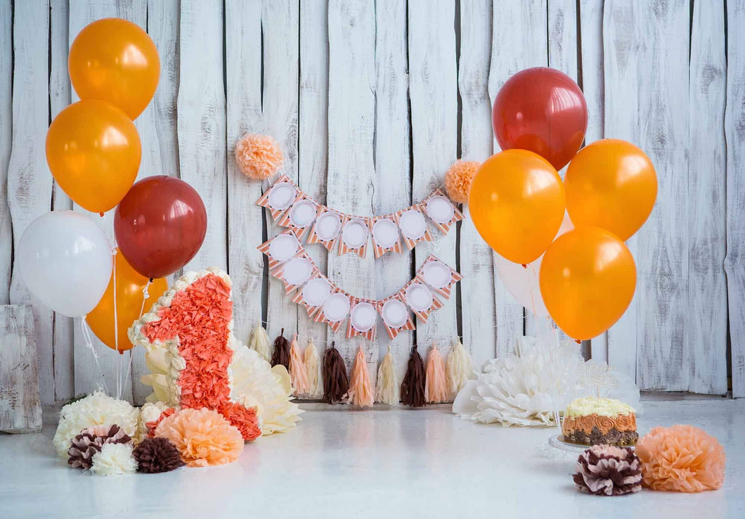 Yellow Balloons On White Floor With Wood Wall For One Birthday Photo Backdrop