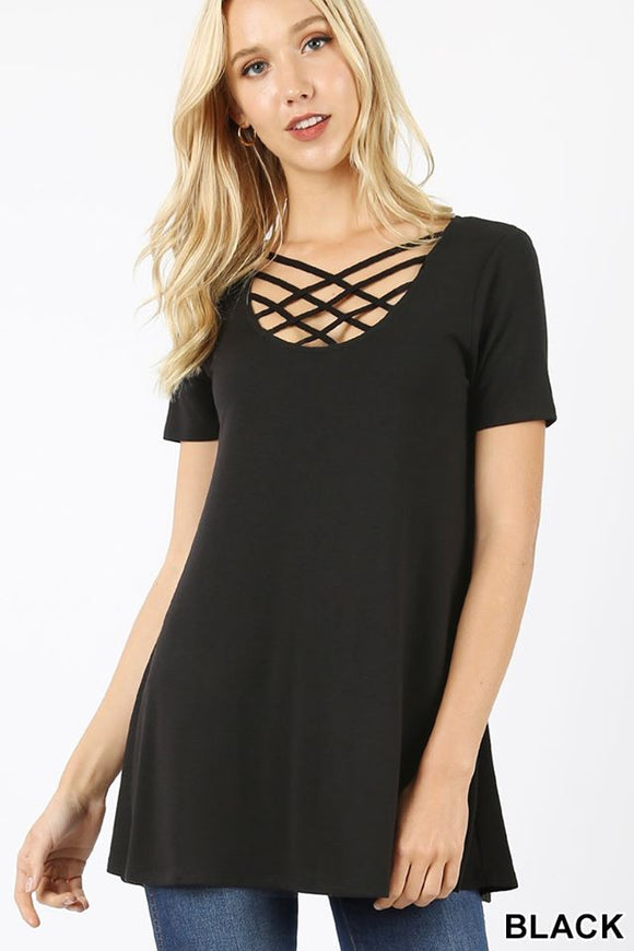 Black lattice ss top