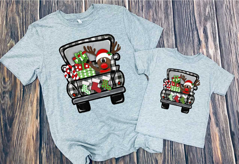 Reindeer Christmas truck (more colors, Raglan and Hoodie available)