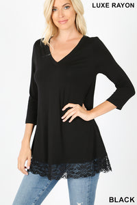 Black 3/4 sleeve top with lace trim