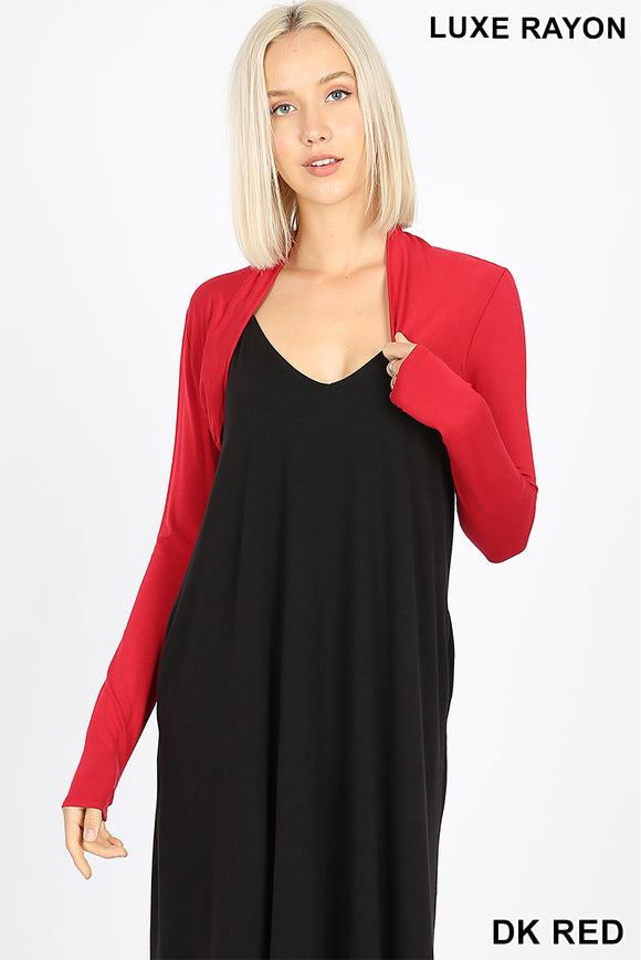 Long sleeve bolero Dark red