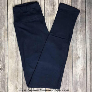 Navy solid leggings (regular and capri)