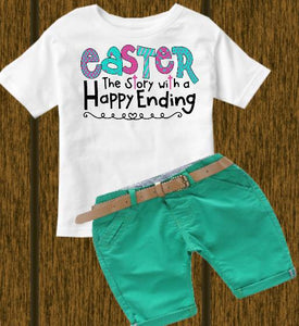 Easter a Happy Ending (kids, Raglan & more colors available)