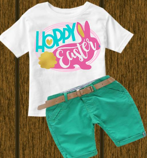 Hoppy Easter (kids, Raglan & more colors available)