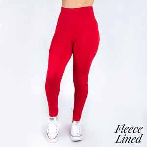 Fleece lined Red leggings