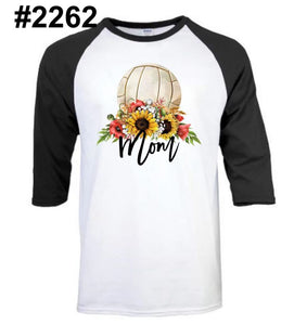 VOLLEYBALL mom RAGLAN (other colors and white short sleeve available)