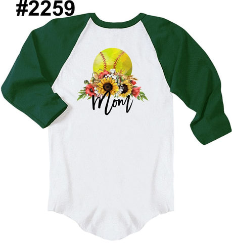 SOFTBALL mom RAGLAN (other colors and white short sleeve available)