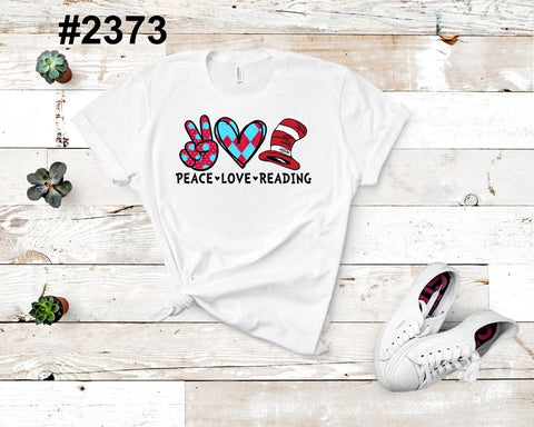 Peace, Love, Reading (kids, Raglan & more colors available)
