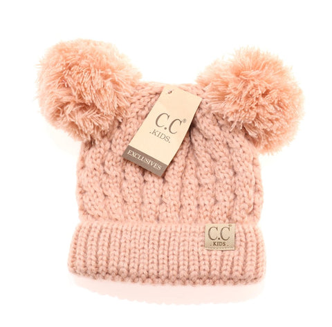 Kids Solid Double Pom CC Beanies Indie pink