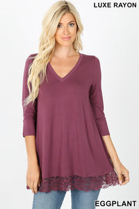 Eggplant 3/4 sleeve top with lace trim