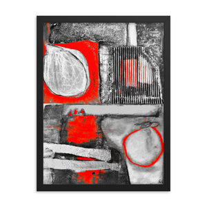""" Abstract Diptych in Red "" - Framed Poster"