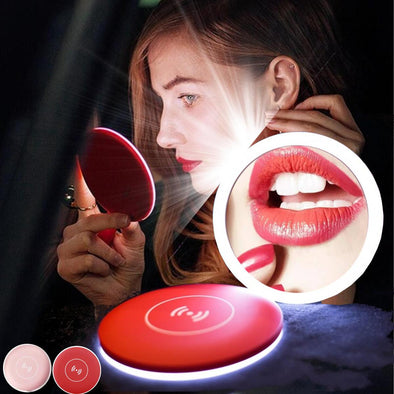 Compact LED Makeup Mirror Wireless Charger