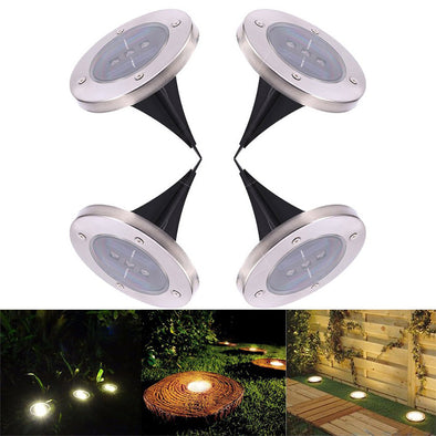 Waterproof Solar Powered LED Accent Lights-led disk disc lights landscape lighting outdoor light pathway lights-The Exceptional Store