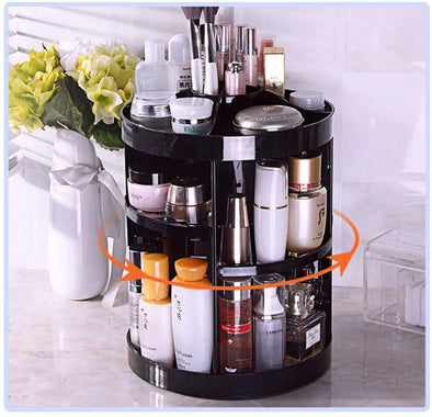 Rotating 360 Degree Makeup Organizer-cosmetics storage makeup organizer women travel pouch beauty magic women's beauty makeup cosmetics makeup brushes lipstick eye shadow blush concealer foundation highlighter contour beautiful-The Exceptional Store