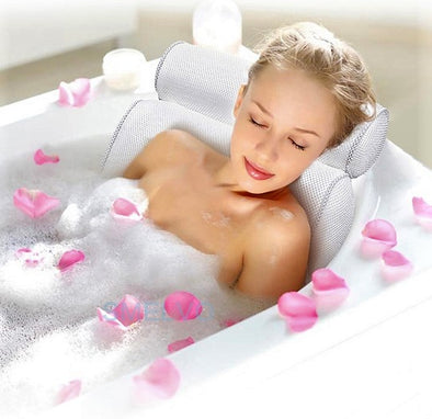 Bathtub Spa Pillow-bubble bath pillow spa relaxing nonslip stress bathroom bathtub cushion headrest-The Exceptional Store