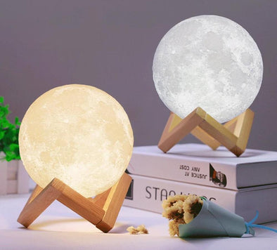 3D Night Light Moon Lamp-yellow and white moon with stand-The Exceptional Store