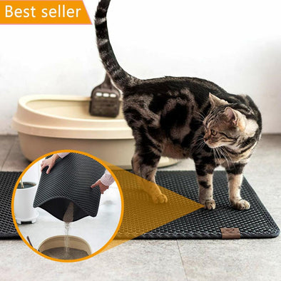 Double Layer Cat Litter Mat-double layer cat litter mat quick easy clean box rug cats kittens-The Exceptional Store