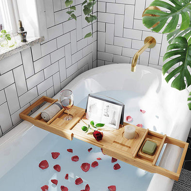 Bamboo Bath Tray-bathtub bridge spa women wine relax bubble bathe caddy diy spa day me time-The Exceptional Store