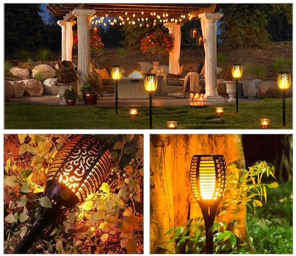 Solar Flickering Flame Tiki Torch-patio porch backyard light lantern-The Exceptional Store