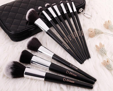 Cosmetics Professional Makeup Brush Set-10 piece makeup brush set with carrying case women beauty makeup cosmetics makeup brushes lipstick eye shadow blush concealer foundation highlighter contour beautiful-The Exceptional Store