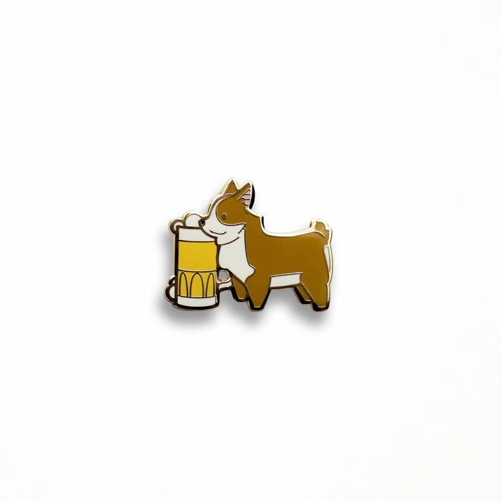 Beer Fetch'n Corgi Pin