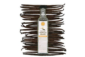 (6) Tahitian Vanilla Beans, Grade A, with 8 oz Glass Extract Bottle - Stavoren Trading Co | Madagascar Vanilla Beans | Buy Vanilla