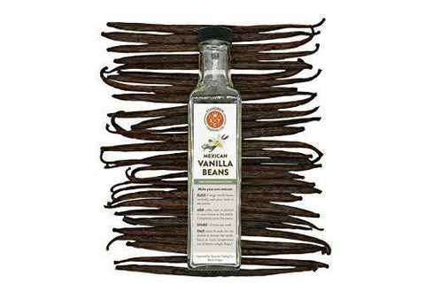 (10) Mexican Gourmet Vanilla Beans, Grade A, with 8 oz Glass Extract Bottle - Stavoren Trading Co | Madagascar Vanilla Beans | Buy Vanilla