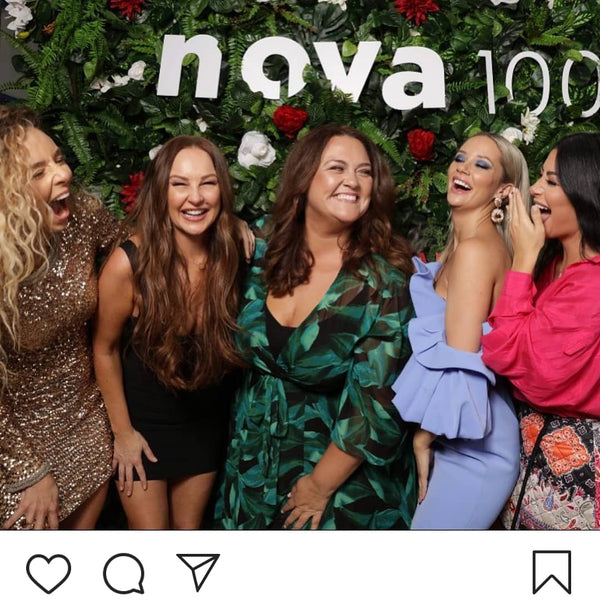Radio personality Chrissie Swan wearing our Aleja dress at the Nova MAFS Cocktail party.