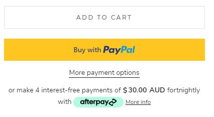 Image is a screen grab of The Add to Cart tab & payment options on each product page on the Pablo & Kat website.
