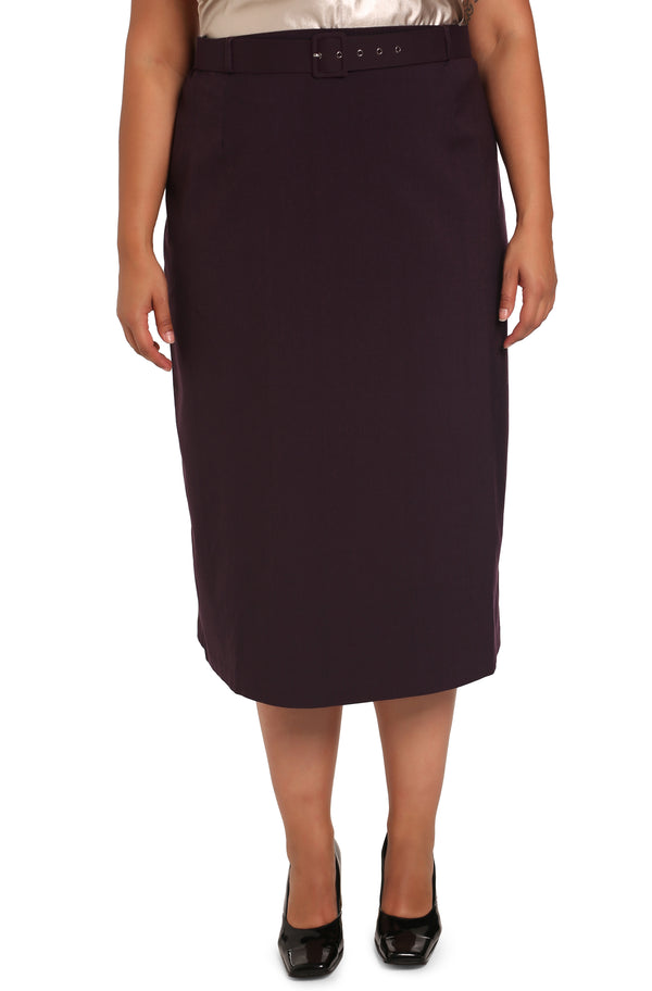 PLUS-SIZE FASHION - LISABETTA CLASSIC SKIRT WITH BELT
