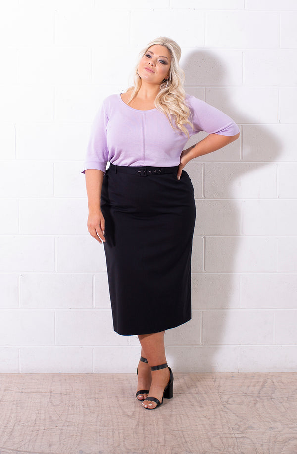 LISABETTA TAILORED MIDI SKIRT FOR CURVY WOMEN