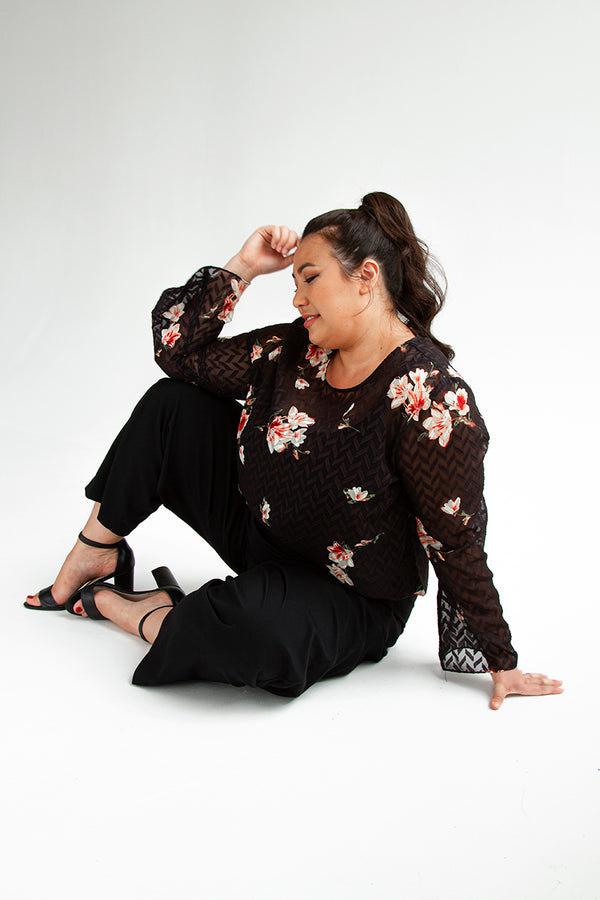 PLUS-SIZE CLOTHING - SERENA PRINTED TOP