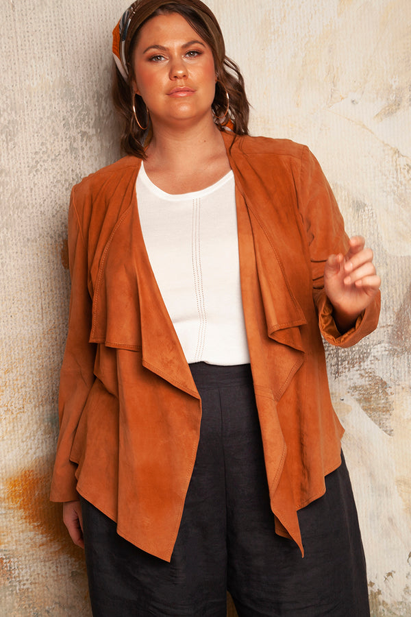 PETRA SUEDE JACKET FOR CURVY WOMEN