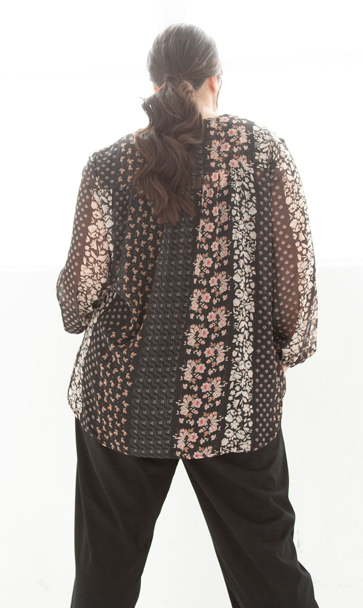 LUCY METALLIC THREAD BUTTONED TOP FOR CURVY WOMEN