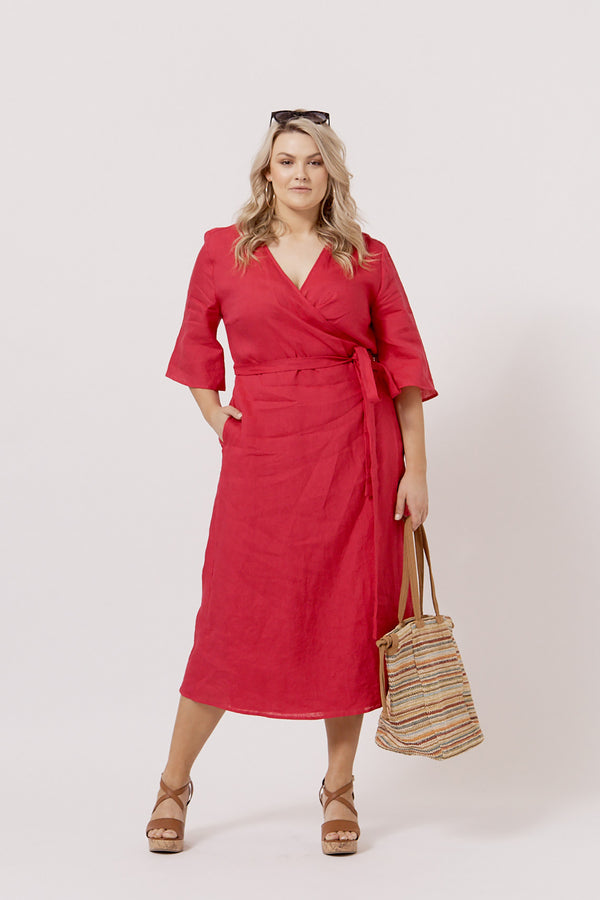 WRAP YOUR CURVES - CHELSEA LINEN WRAP DRESS