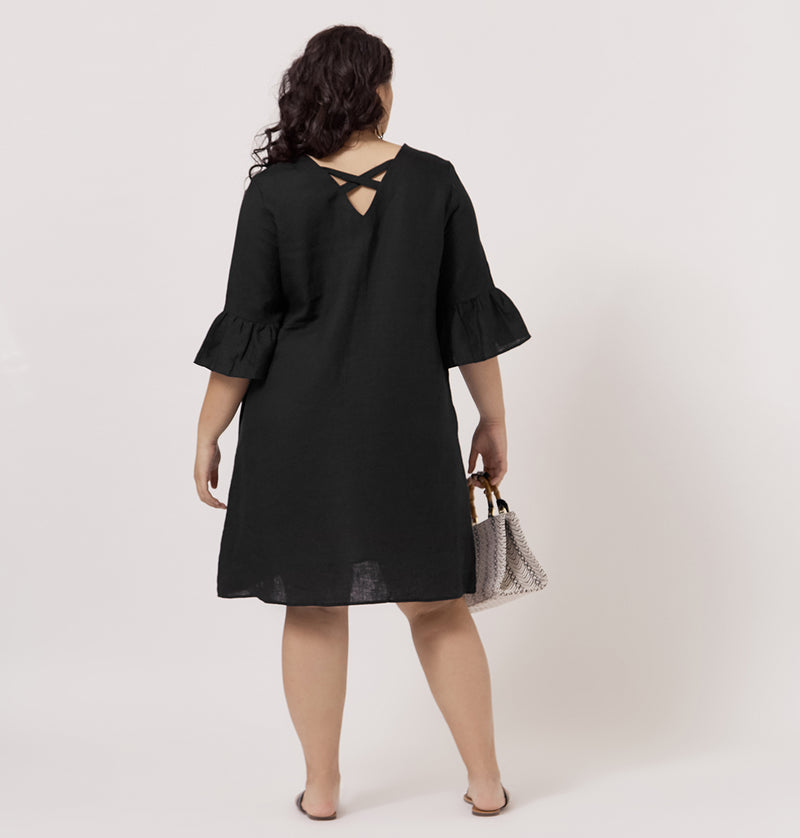 ALLY LINEN SHIFT DRESS FOR CURVY WOMEN