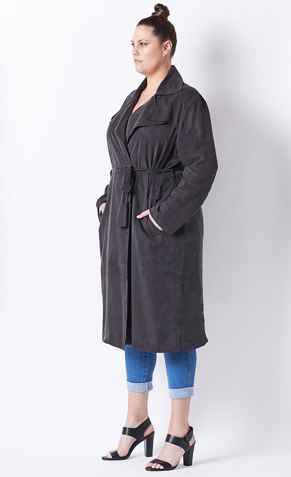 PLUS-SIZE FASHION - VANESSA BELTED WRAP TRENCH COAT