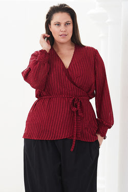 PLUS-SIZE FASHION - NATASHA SELF STRIPE WRAP TOP