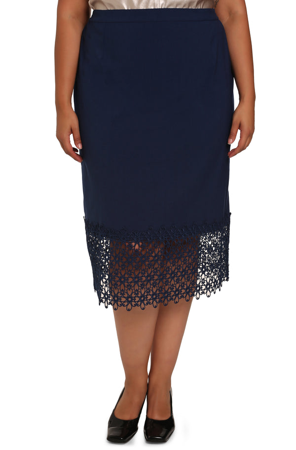 Buy Paula plus-size skirts: Paula Lace Trim Skirt