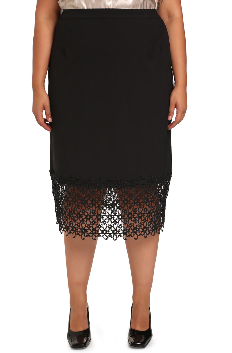 PLUS-SIZE FASHION - PAULA LACE TRIM SKIRT