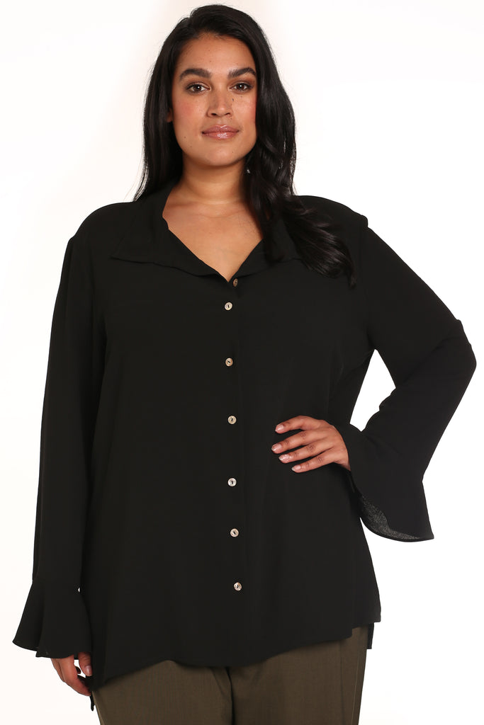 PLUS-SIZE CLOTHING - SIMONA HAMMERED SLOUCHY SHIRT