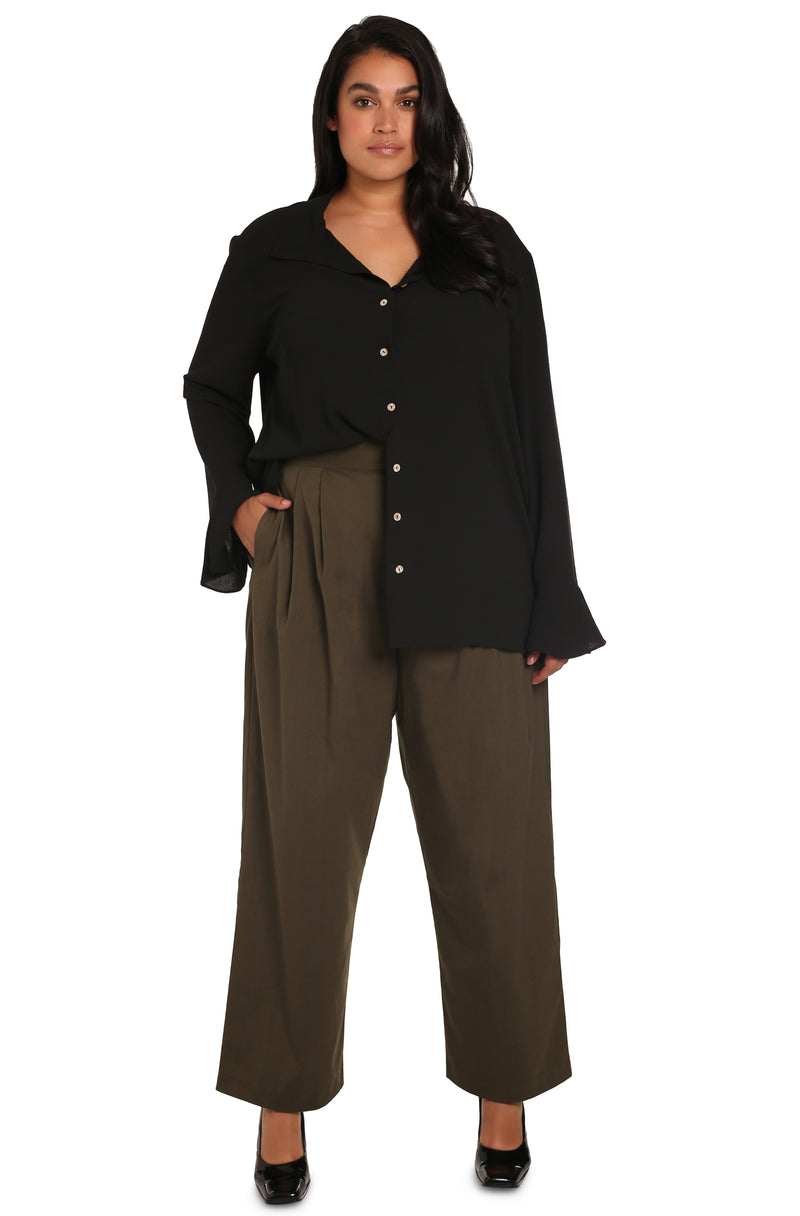 Plus-size clothes: Simona Hammered Slouchy Shirt