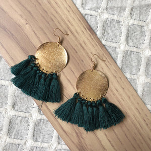 Eva Tassel Earrings (Forest)