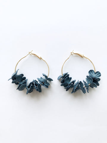 Saffi Hoop Earrings (Navy)