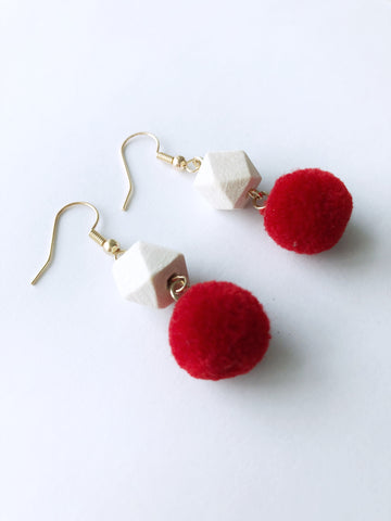 Hedy Pom Earrings (Red)