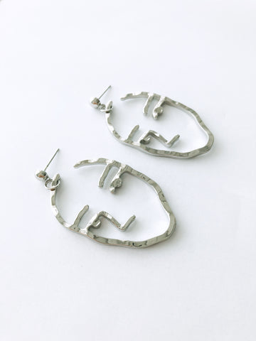 Liviya Face Earrings (Silver)