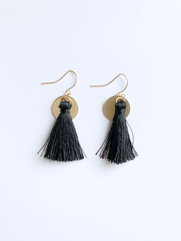 Zoe Tassel Earrings (Black)